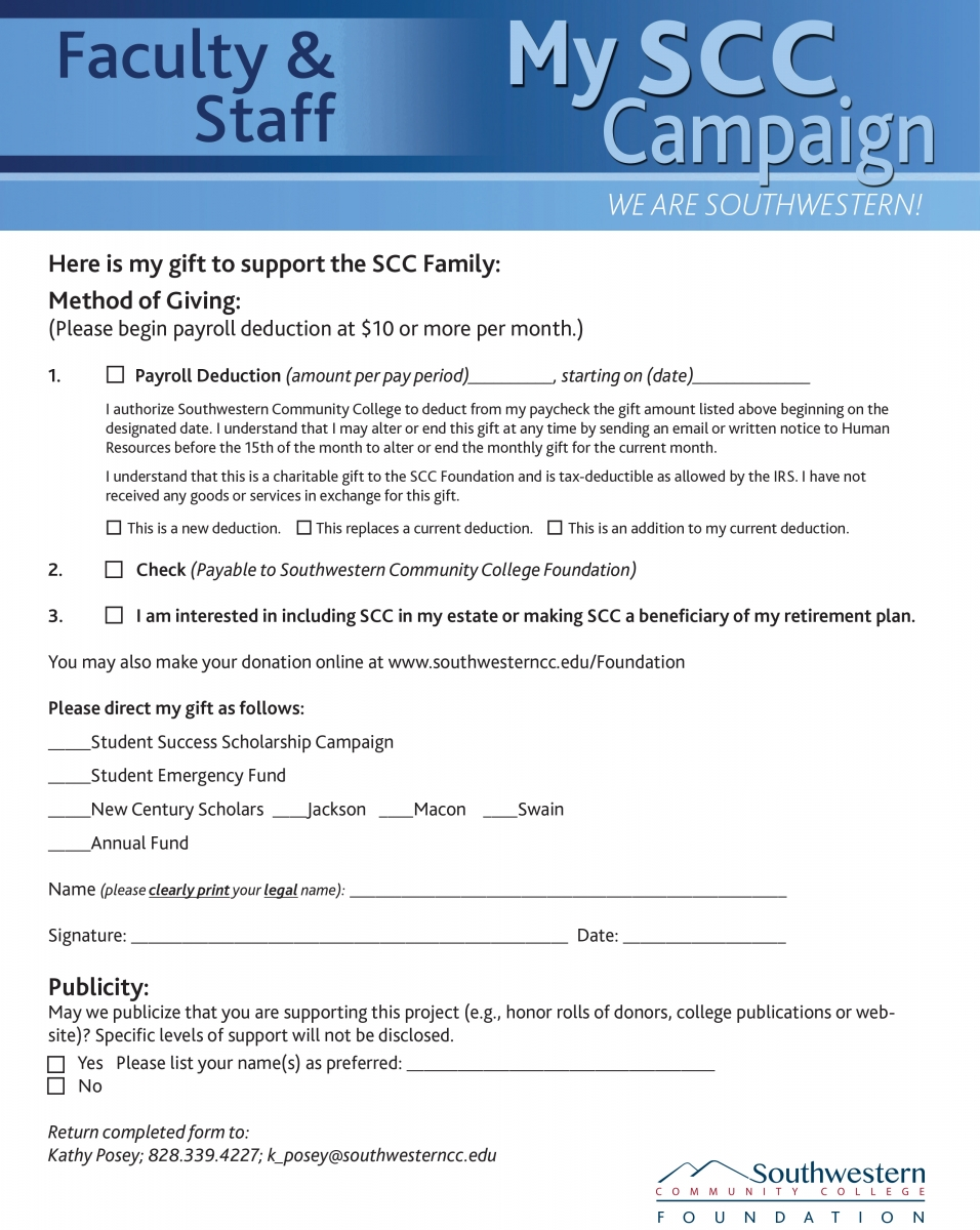 Cover page of the Faculty & Staff Campaign Gift Form
