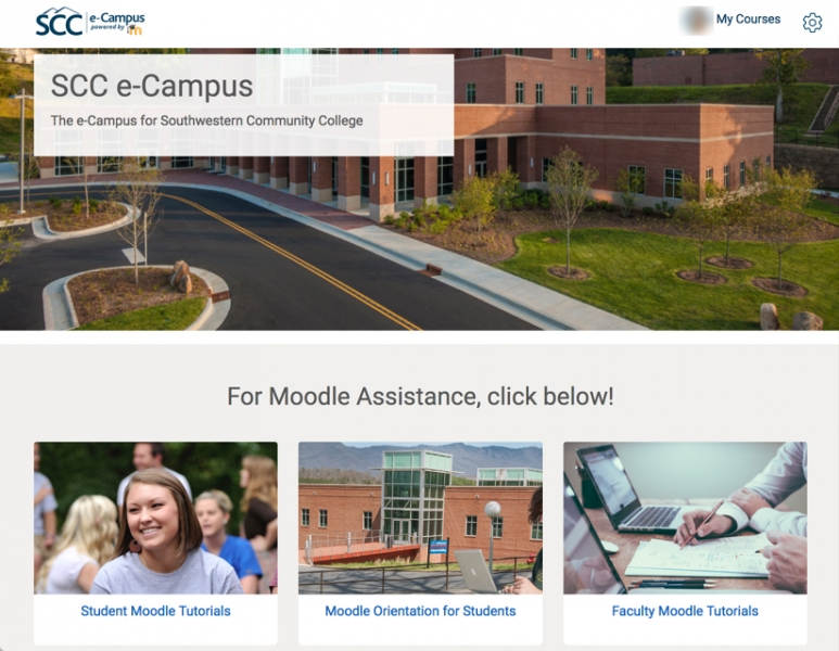 Image of e-Campus home page