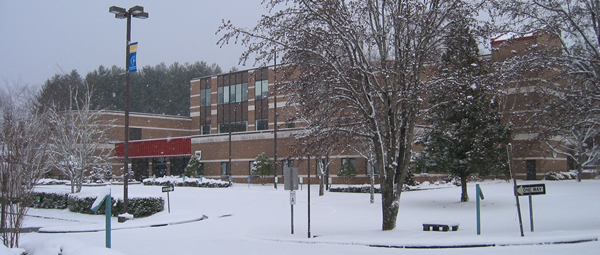 Snowy image of SCC Burrell Building