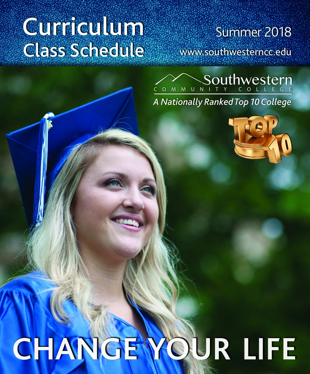 Cover image of Summer, 2018, class schedule, featuring a young graduate smiling.